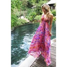 Sophia Alexia Silk Ibiza Dress Long - Pink Fire