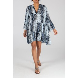 Lucy Cobb Millie Snake Print Tunic - Pale Blue