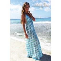 Sophia Alexia Silk Ibiza Dress Long - Aquamarine Dream