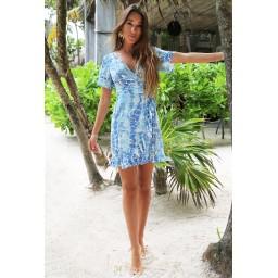 Sophia Alexia Mini Ruffle Wrap Dress - Blue Pebbles