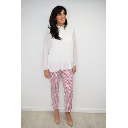 Robell Trousers Rose 09 Geo Print Trousers  - Raspberry White