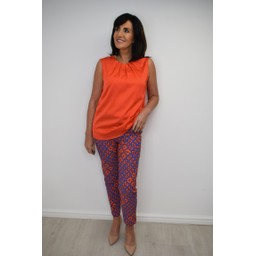 Robell Trousers Rose 09 Abstract Print Trousers - Orange
