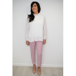 Robell Trousers Bella 09 Geo Print Trousers - Raspberry White