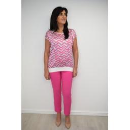 Deck Printed Top in Pink Zig Zag