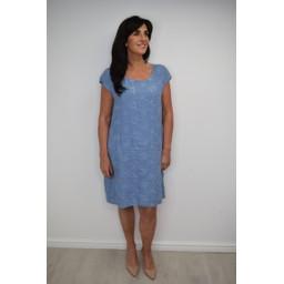Lucy Cobb Daisy Linen Printed Dress - Denim Blue