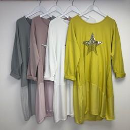 Lucy Cobb Star Embellished Sweatshirt Dress - Mustard
