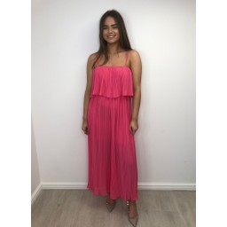 Lucy Cobb Poppy Pleated Jumpsuit in Fuchsia