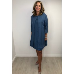Alice Collins Sandra Longline Jacket in Dusky Indigo