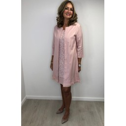 Alice Collins Sandra Longline Jacket in Rose Smoke