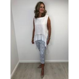 Lucy Cobb Linen Asymmetric Sleeveless Top - White