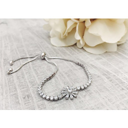 Lucy Cobb Diamante Flower Bracelet - Silver