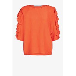 Oui Frill Arm Top - Orange