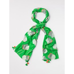 White Stuff Talia Printed Textured Scarf - Green