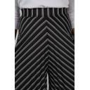 Stripe Pleated Culottes - Black - Alternative 3