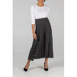 Lucy Cobb Stripe Pleated Culottes - Black