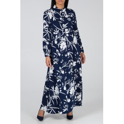 Lucy Cobb Floral Shirt Dress in Navy