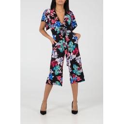Lucy Cobb Kimono Sleeve Culotte Jumpsuit - Black Floral