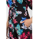 Kimono Sleeve Culotte Jumpsuit - Black Floral - Alternative 2
