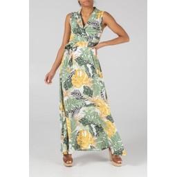 Lucy Cobb Chloe Collar Wrap Maxi - Green Floral