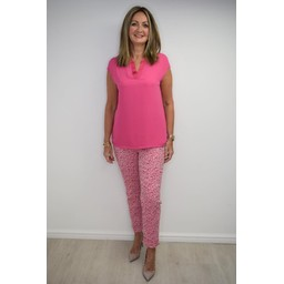 Robell Trousers Rose 09 Animal Print Trousers - Pink