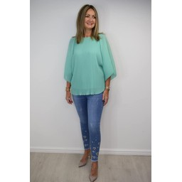 Lucy Cobb Ruby Batwing Pleated Top in Mint