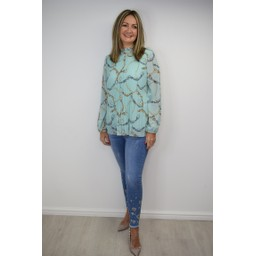 Lucy Cobb Clemmie High Neck Top in Aqua Chain