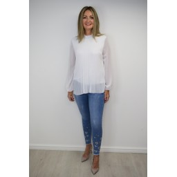 Lucy Cobb Clemmie High Neck Top in White