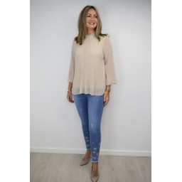 Lucy Cobb Clemmie High Neck Top in Stone