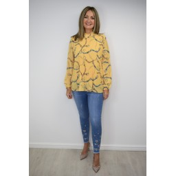 Lucy Cobb Clemmie High Neck Top in Yellow Chain