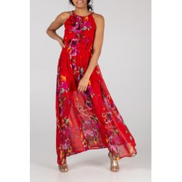 Lucy Cobb Keyhole Floral Maxi - Red Floral