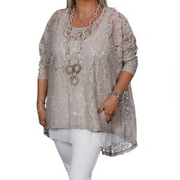 Malissa J Lace Long Line Top  - Taupe