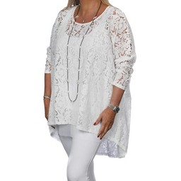 Malissa J Lace Long Line Top  - White