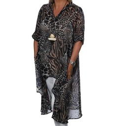 Malissa J Chiffon Animal Print Dipped Hem Tunic - Animal Print