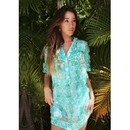 Sophia Alexia Beach Shirt in Aqua Pebbles