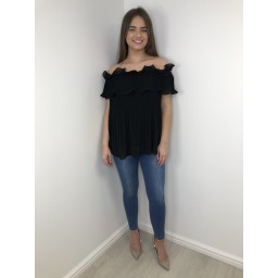 Lucy Cobb Bonnie Bardot Frill Top in Black
