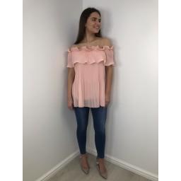 Lucy Cobb Bonnie Bardot Frill Top - Blush Pink