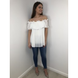 Lucy Cobb Bonnie Bardot Frill Top in White