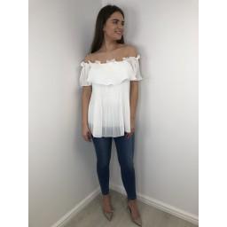 Lucy Cobb Bonnie Bardot Frill Top - White