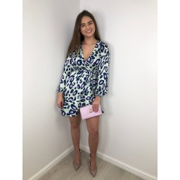 Lucy Cobb Satin Print Ruffle Wrap Dress - Mint