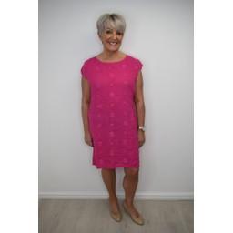 Lucy Cobb Circle Linen Dress in Fuchsia