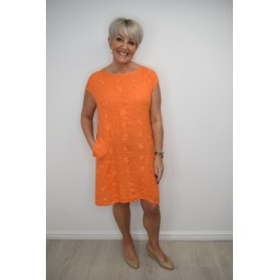 Lucy Cobb Circle Linen Dress in Orange