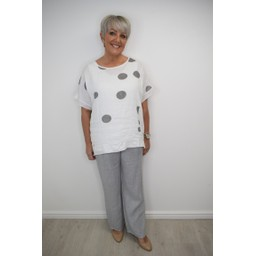 Lucy Cobb Sophie Sequin Spot Top in White
