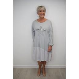 Lucy Cobb Star Embellished Sweatshirt Dress - Grey