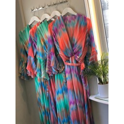 Lucy Cobb Riva Rainbow Maxi in Coral