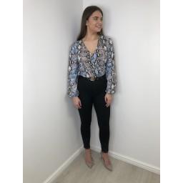 Lucy Cobb Snake Print Bodysuit - Blue