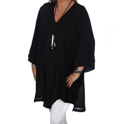 Malissa J Jersey Chiffon Panel Top - Black