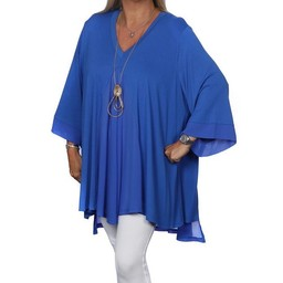 Malissa J Jersey Chiffon Panel Top - Royal