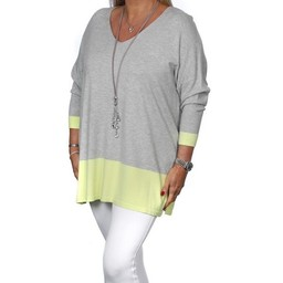 Malissa J Colour Block Border V Neck Jumper - Grey