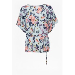 French Connection Amoise Crepe Short Sleeve Top - Light Blue Floral