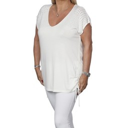 Malissa J Diamante Shoulder V Neck Top - White